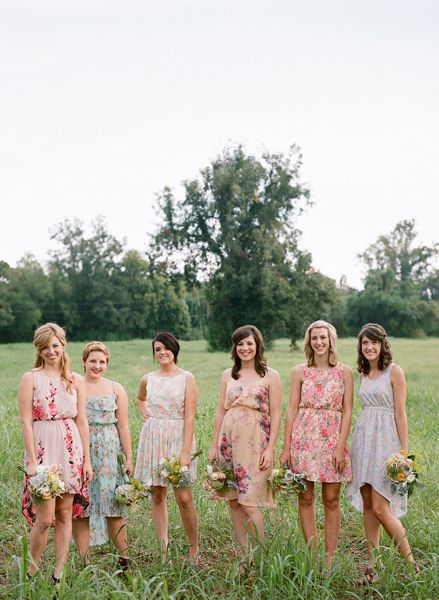 Casual wedding party. I like the different prints on the dresses
