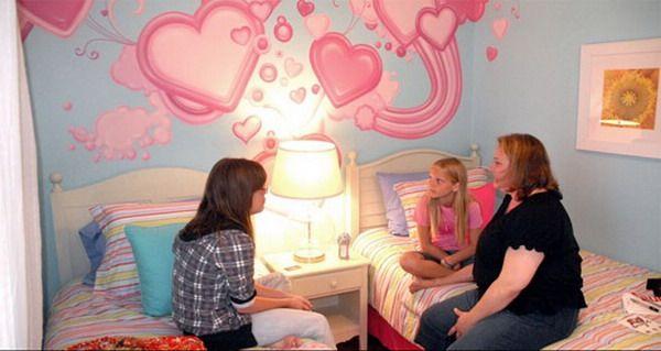 Hearts graffiti girls bedroom murals inspired decor for 8 year old bedroom ideas girl