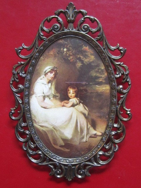Vintage Victorian Picture Frame Ornate Bronze Filigree Oval Italy