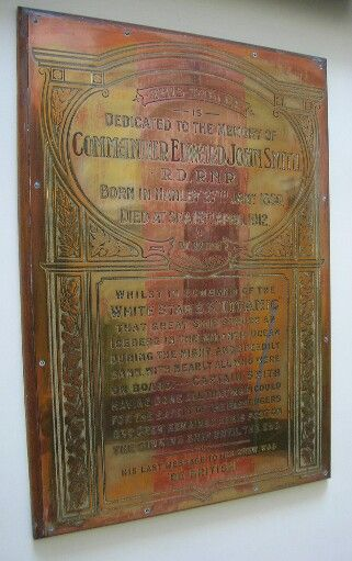 Memorial tablet to Captain E J Smith. Hanley Town Hall, Stoke-on-Trent
