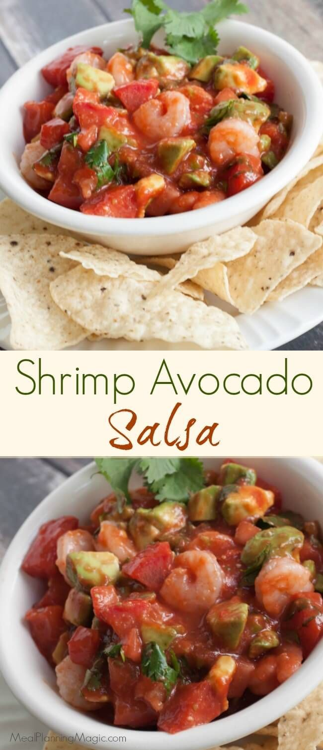 This simple Shrimp Avocado Salsa is an easy and delicious version of ceviche and perfect for any crowd year round! http://www.mealplanningmagic.com/shrimp-avocado-salsa/