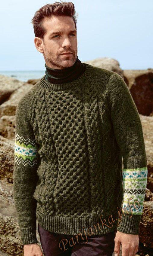 Жаккардовый пуловер с «косами» (м) 02*177 Bergere de France №4727