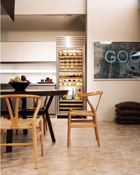 kitchen.  art.: Clear Glass, Wishbone Chairs, Breakfast Nooks, Woods Chairs, Backgrounds, Dreams Wine, Wine Fridge, House, Wine Coolers
