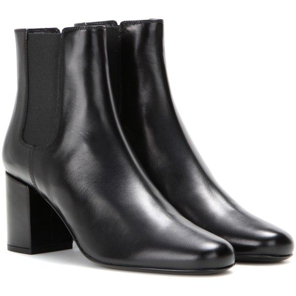 Saint Laurent Babies Leather Chelsea Boots ($815) ❤ liked on Polyvore featuring black, beatle boots, leather chelsea ankle boots, black chelsea ankle boots, genuine leather boots and black leather boots