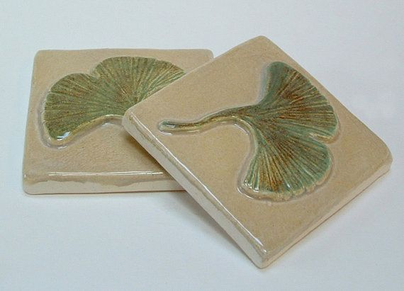 3 inch Gingko/Ginkgo Tile/Arts and Crafts tile for fireplace or kitchen, butter cream/green glaze. Set of…