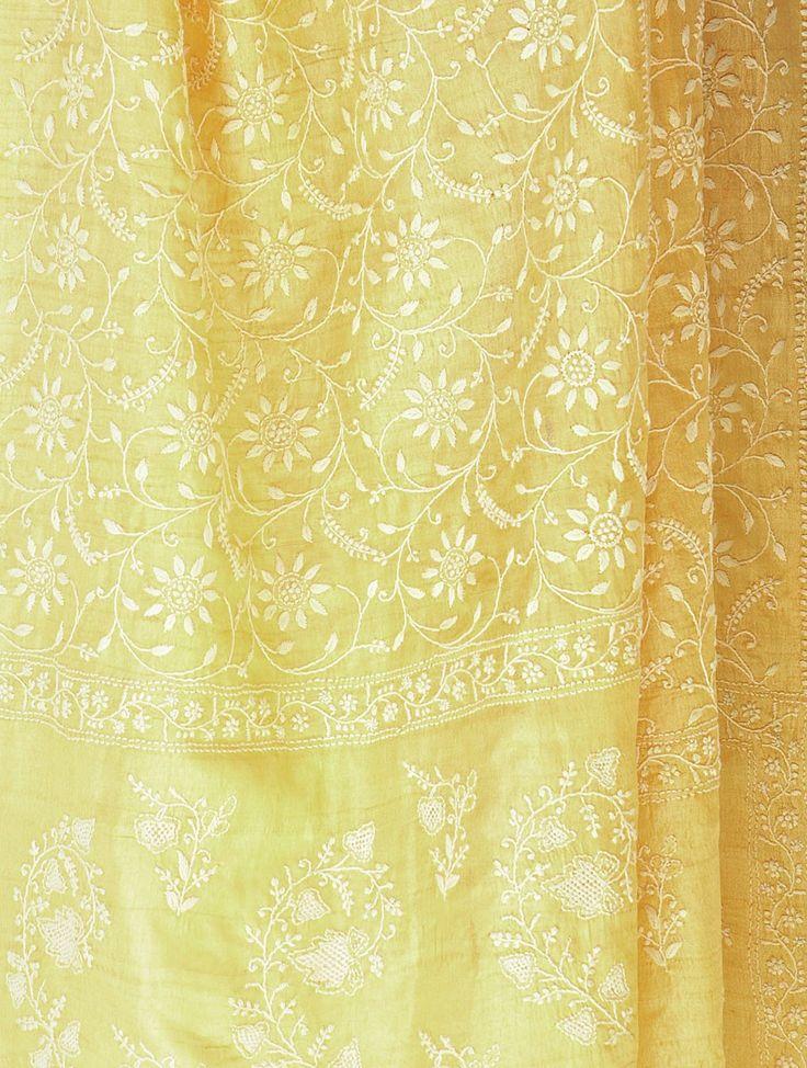 Light Yellow Tussar Chikankari Stole -  Embroideries of India : Chikankari - www.jaypore.com