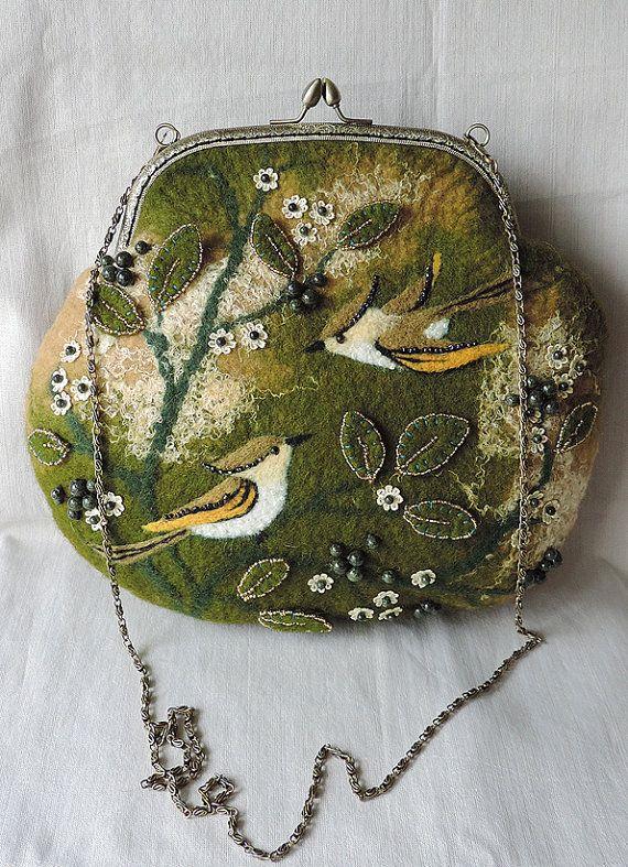 Handmade felted purse with birds, Wool purse, Felted pouch, Crossbody bag, Handbag