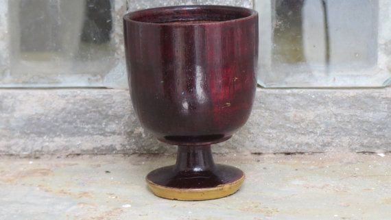 A Vintage 1970's Lacquered Wooden Egg Cup from by Lallibhai