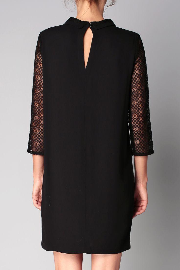 Robe noire manches dentelle Vicky Sessun sur MonShowroom.com