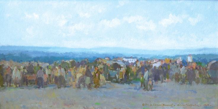 Adam Bălțatu - Bâlci la Târgul Neamț    Lucrarea face parte dintr-o serie de 6 picturi, confiscate în perioada comunistă și recuperate recent de la Muzeul Municipiului București.