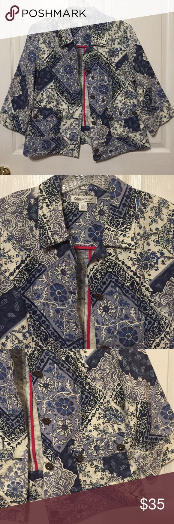 ⚡️Coldwater Creek Sz P12 blue and white jacket Blue and white print Coldwater Creek jacket in size P12.  It is 100% cotton.  Jean jacket style.  Two front pockets, buttons up.  No holes or stains and from a smoke free home Coldwater Creek Jackets & Coats Jean Jackets