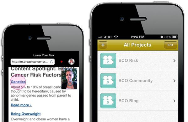 UX Recorder app records on screen activity and gestures along with a video. user testing of mobile web sites.