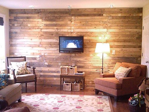 parede de madeira: Pallets Wall, Pallets Wood, Living Room, Wooden Wall, Pallets Ideas, Wood Pallets, Wood Wall, Pallets Boards, Accent Wall