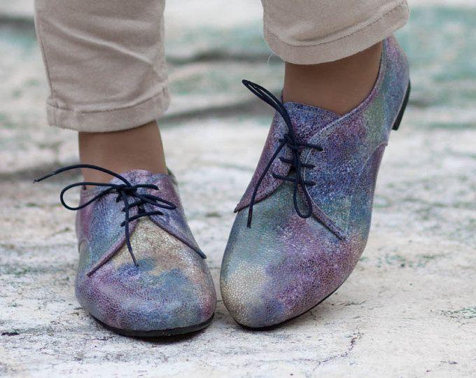 Multicolor lederen schoenen, kleurrijke schoenen, lederen Oxford schoenen, sluit schoenen, platte schoenen, Winter schoenen, gratis verzending