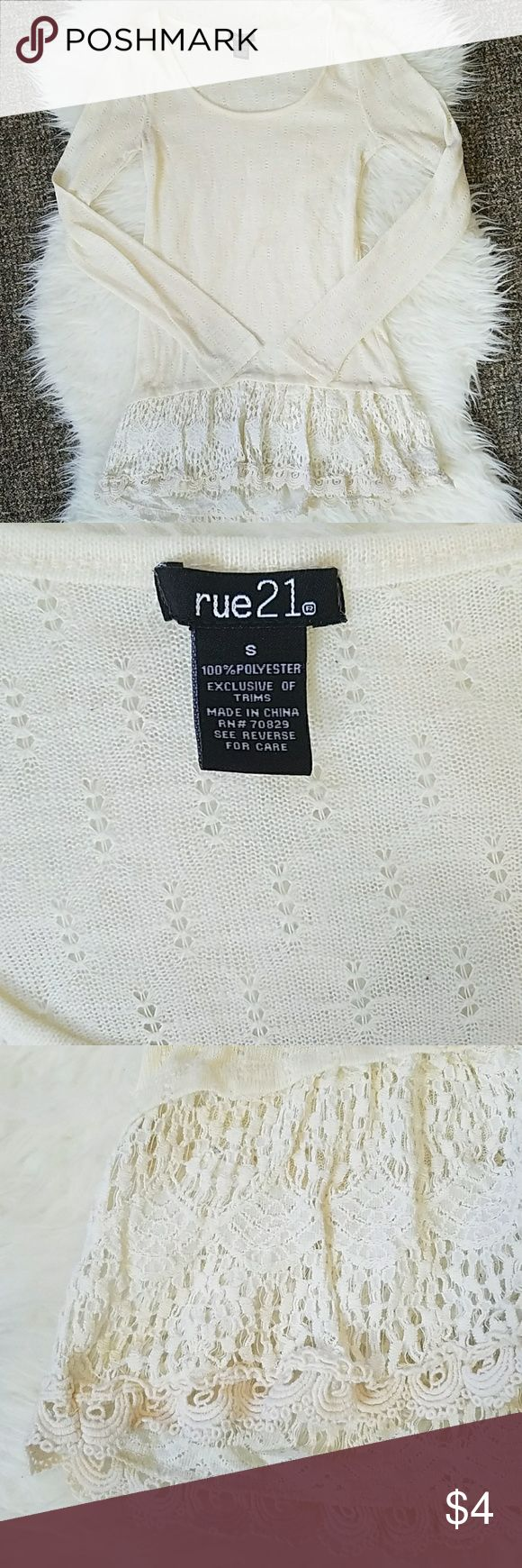 """LOWEST PRICE Rue 21 Women's Cream Top Lace Small Rue 21 Women's Shirt Sz Small Cream Lace. Pilled (pictured). Run in armpit.  Bust: 28"""" Length: 27"""" Underarm sleeve length: 19""""  See my page for more!  Pet/smoke free home. Rue 21 Tops Blouses"""
