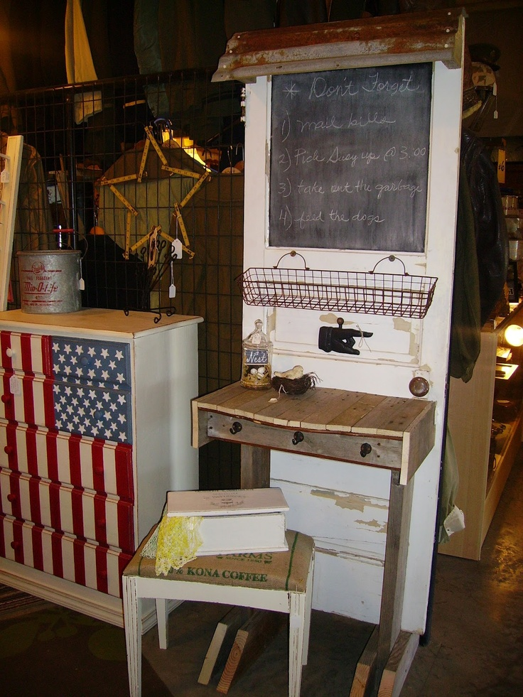 Repurposed Materials Ideas | ... and Other Old Salvaged Materials Repurposed / Old door writing table