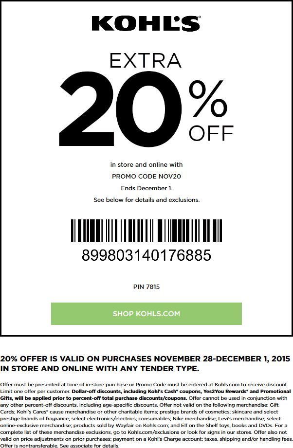 Pinned November 28th: Extra 20% off at #Kohls or online via promo code NOV20 #coupon via The #