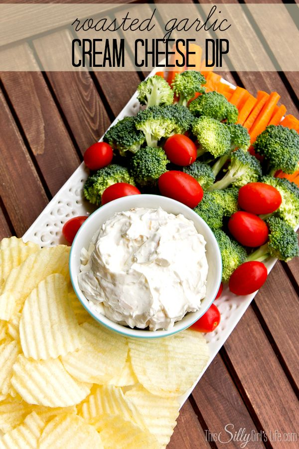 Roasted Garlic Cream Cheese Dip recipe from http://ThisSillyGirlsLife.com #HolidayIdeaExchange