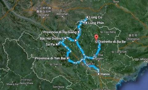 Mappa dell'itinerario nel Nord Vietnam Pamm Travel