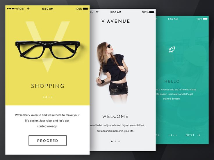 A few walkthrough screens for iOS app UI (work in progress).