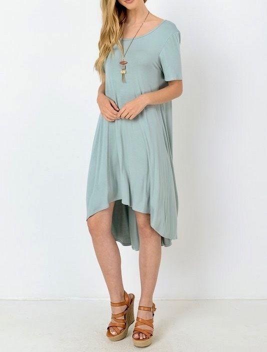 SOUTHERN GIRL FASHION  High Low Swing Dress Stretchy Mint Green Midi Tunic S M L #Boutique #BeachDress