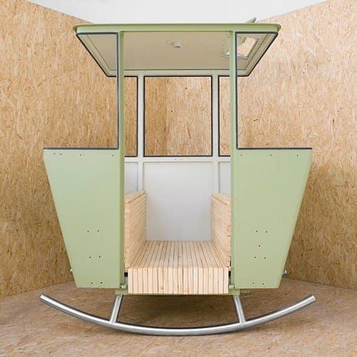 Made from a vintage Swiss cable car, this commissioned piece is the brainchild of designer Adrien Rovero.