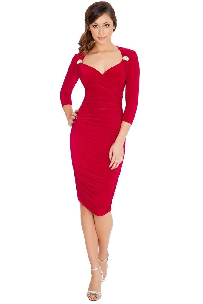 Beautiful Sweet Heart Red Evening Queen Anne Neckline Quarter Sleeve Midi Dress