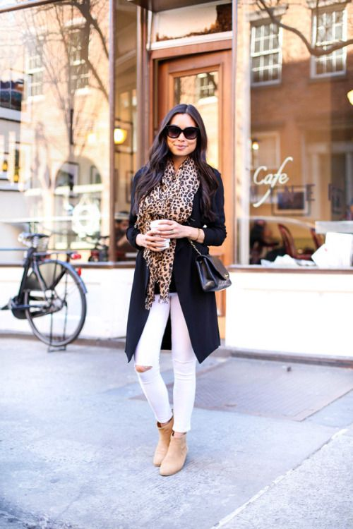 leopard scarf, white skinny jeans, black trench, tan booties for a casual  weekend outfit