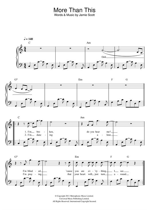 Nouvelle partition piano sur Modern Score !    One Direction: More Than This - Partition Piano Facile    #sheetmusic #piano #OneDirection #
