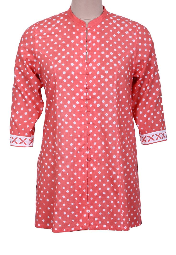 Rose Bandhani Shirt with Applique Sleeves