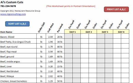 Restaurant Inventory Spreadsheet Google Search