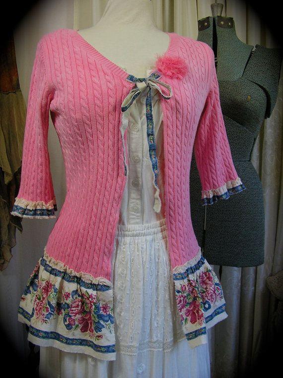 Pink Shabby Sweater, frayed upcycled clothing, refashioned altered tattered ruffled hem MEDIUM
