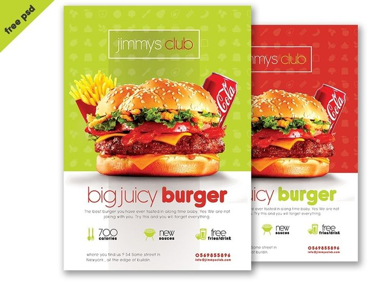 A cool free PSD burger flyer template designed by DesignCoon. You can use this flyer for promotional materials, restaurant or burger-house flyers. The template is fully layered and fully editable, so you can easily adapt it to your needs. This burger template is free to use in your personal and commercial projects.
