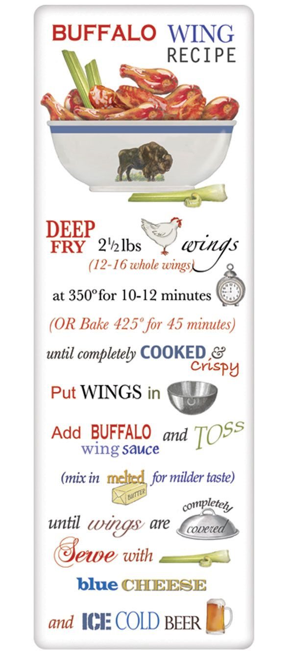Recipe Flour Sack Dish Tea Towels - Buffalo Chicken Wings – For the Love Of Dogs - Shopping for a Cause