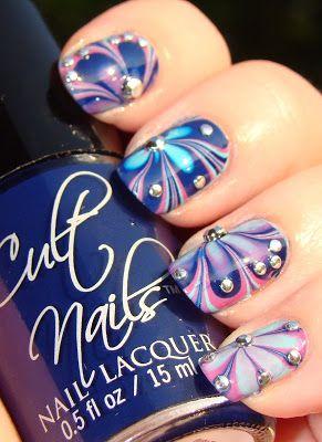 Smashley Sparkles: Cult Nails Water Marble, plus Rhinestones!