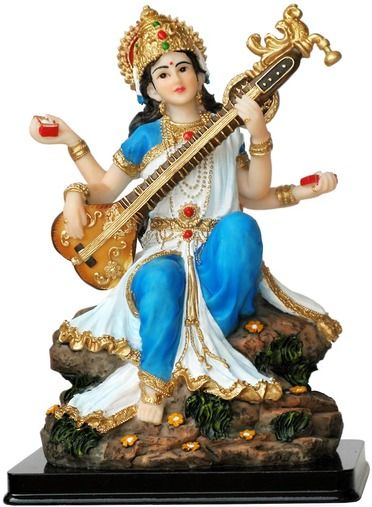 Sarasvati is the Goddess of learning and of music. In this beautiful statue she is playing her vina. Statue size: 7.5 inches