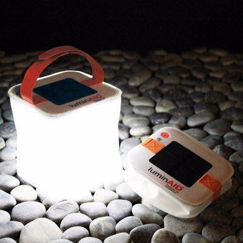 LuminAID PackLite 12 - A compact, solar-powered light that twists flat and inflates into a lightweight, portable lantern.