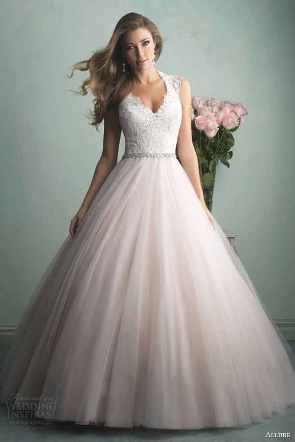 allure bridals fall 2014 champagne pink color wedding dress style 9163