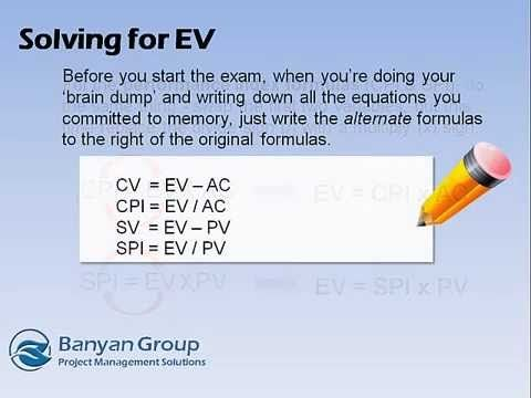 PMP Exam Prep Formulas - Solving For EV