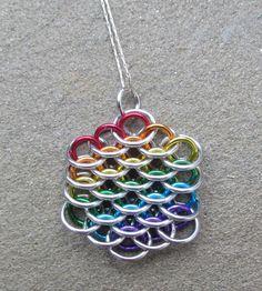 Rainbow Jewelry, Chain Maille Pendant, Mini Dragonscale Pendant, Multicolor Pendant, Jump Ring Jewelry