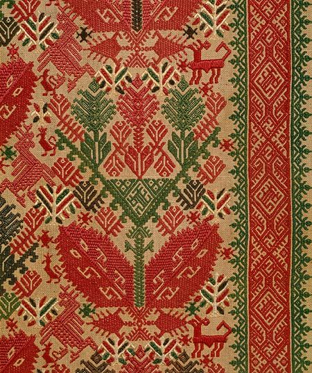 Panel from a set of Bed Curtains [Greek Islands, Cyclades]18th century - linen embroidered with silk