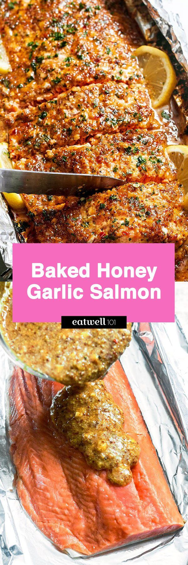Baked Honey Garlic Salmon in Foil —Sweet and tangy flavors shine in this bright seafood dinner. A whole salmon fillet coated in honey mustard garlic sauce gets baked in foil and broiled to a flak…