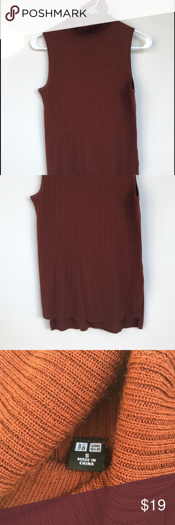 NWOT Turtleneck sweater tank Classy turtleneck sweater tank from Uniqlo. It is a rich copper brown and pairs well most anything. Small slits on both sides provide for a flattering look. Uniqlo Tops Tank Tops