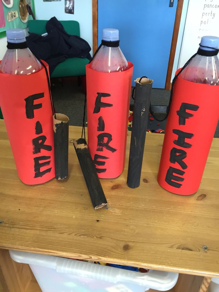 DIY Fire Extinguishers! Children loved making fire extinguishers for the fire station!