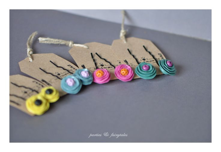 handcrafted polymer clay floral bobby pins by partiesandfairytales on Etsy