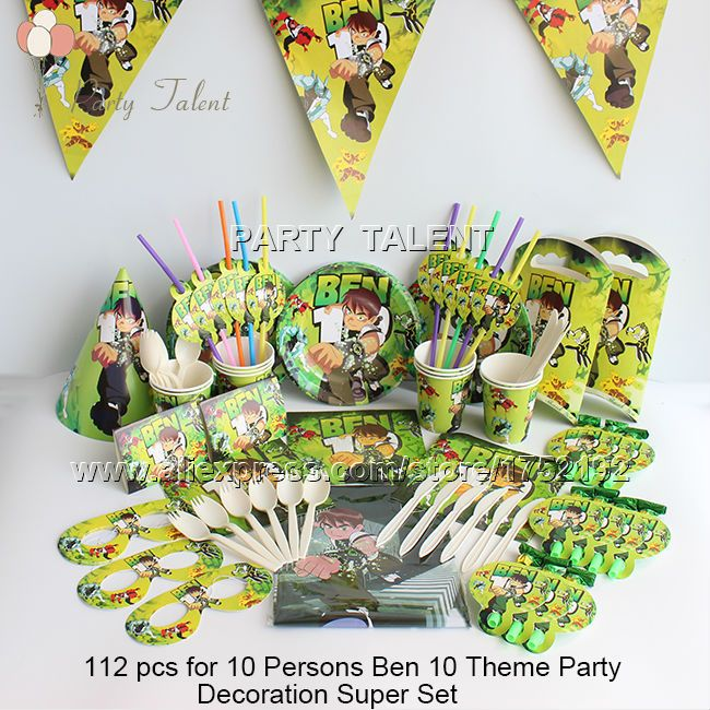 Ну вечеринку поставляет 112 шт. для 10 человек бен 10 тема день рождения ну вечеринку украшения супер комплект, плита чашки салфетки баннер выброс т . д .