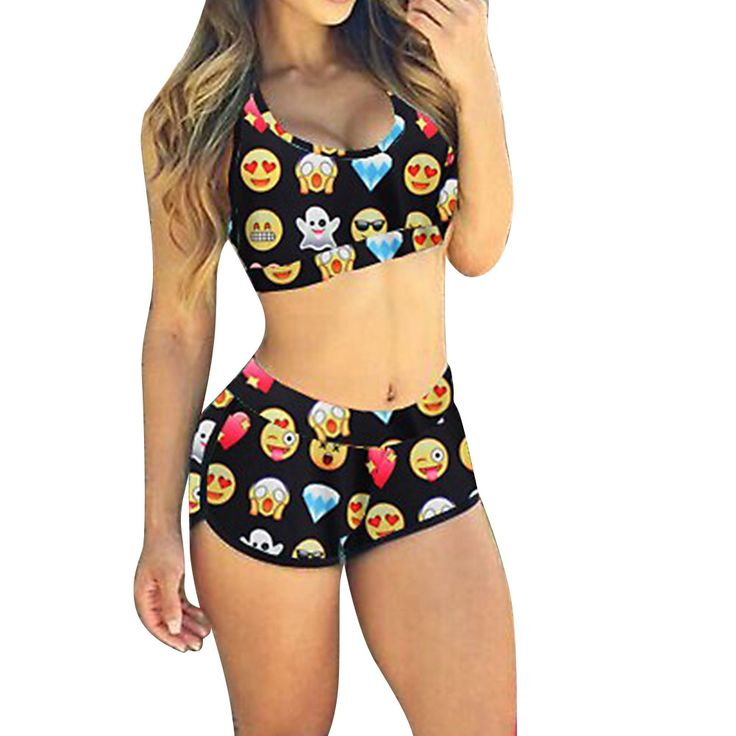 Sexy Women Emoji Multicolor Bikini Sports Swimwear Beachwear Bathing Fun Pattern Bathing Swimsuit Set XL ISP
