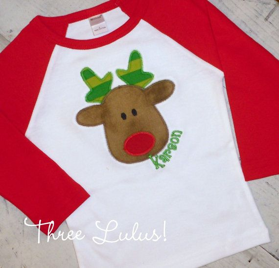 Rudy Reindeer Raglan Sleeve Shirt Tee Christmas by threelulus, $26.00