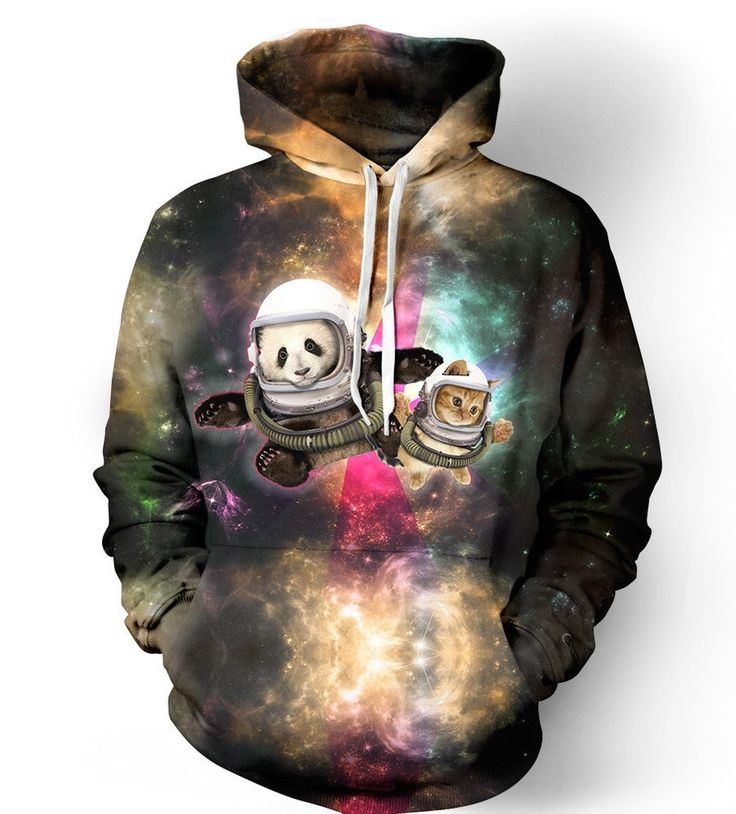 Sky Cat Pullover Hoodie - Space Animal Artwork Sweater - Cat Lover Festival Clothing Acri77HAF