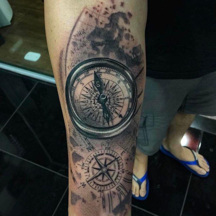 Amazing artist Tuzinho Tattoo @tuzinhotattoo awesome compasses atlas themed forearm tattoo! ...
